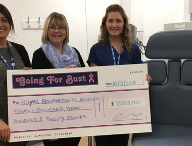 Going for Bust donate £7,320 for new chair for breast cancer patients