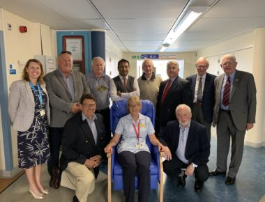 Masonic lodges fund four new reclining chairs for Cardiology department